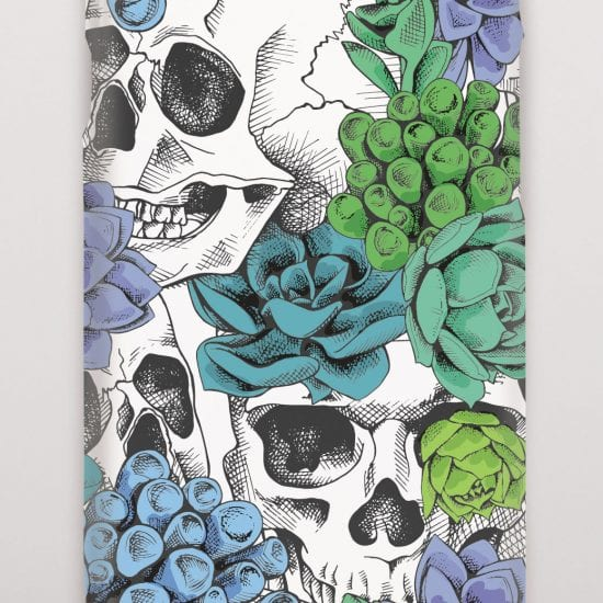Skull with green flowers