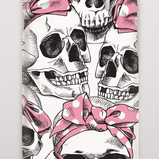Skulls with pink poka dot bows