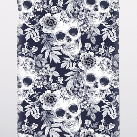 black & white skulls phone case
