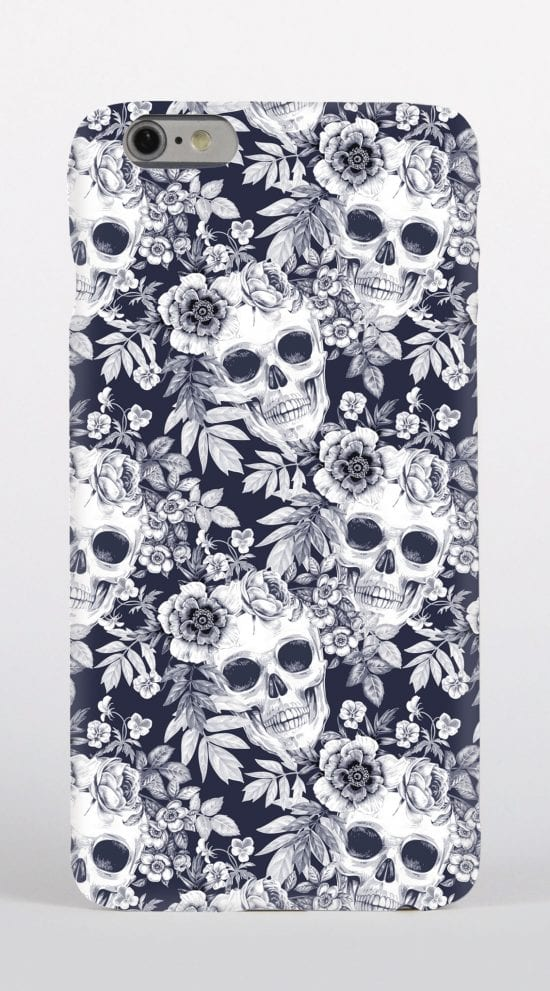 black & white skulls phone case